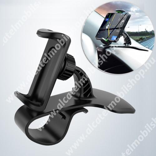 ALCATEL OTE 301 UNIVERZÁLIS gépkocsi / autós tartó - FEKETE - műszerfalra rögzíthető, max.  85mm-es befogó csipesszel, 360°-ban elforgatható