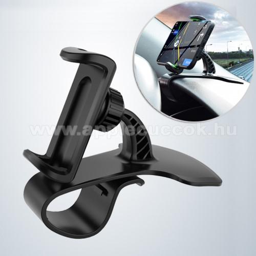 APPLE IPhone 5SUNIVERZÁLIS gépkocsi / autós tartó - FEKETE - műszerfalra rögzíthető, max.  85mm-es befogó csipesszel, 360°-ban elforgatható