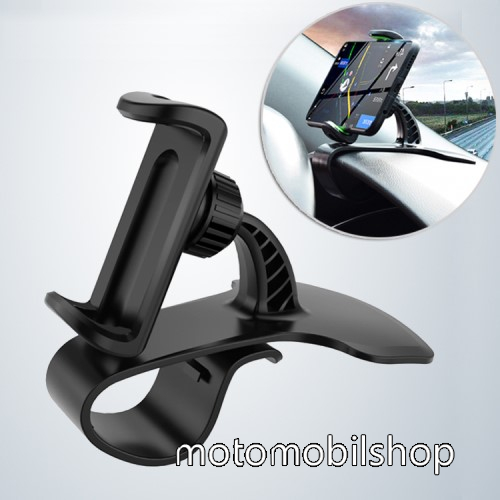 MOTOROLA Wilder (EX130) UNIVERZÁLIS gépkocsi / autós tartó - FEKETE - műszerfalra rögzíthető, max.  85mm-es befogó csipesszel, 360°-ban elforgatható