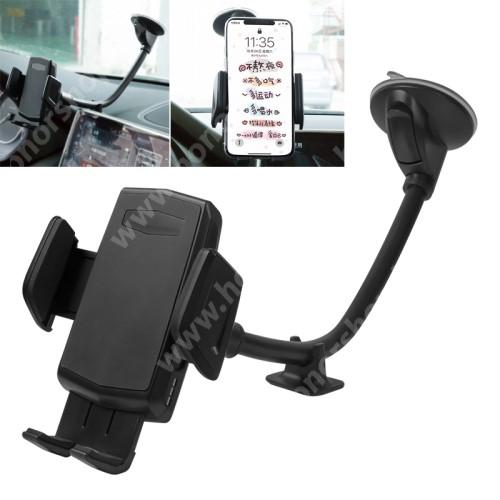 HUAWEI Honor 3 UNIVERZÁLIS gépkocsi / autós tartó - FEKETE - tapadó korongos / szélvédőre helyezhető, 360°-ban forgatható, 310mm hosszú flexibilis karral, 55-95mm-ig nyíló bölcső