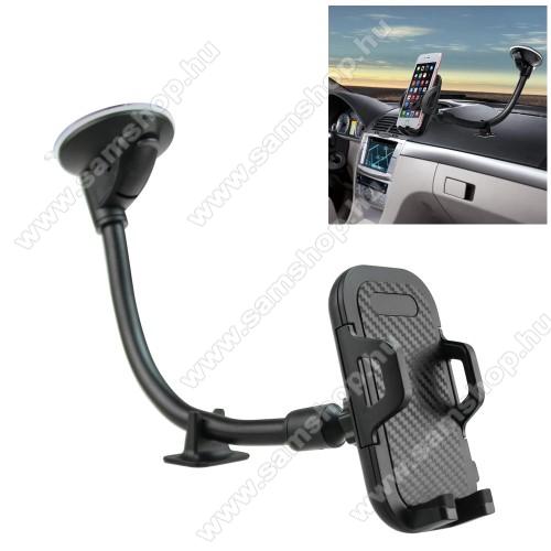 UNIVERZÁLIS gépkocsi / autós tartó - FEKETE - tapadó korongos / szélvédőre helyezhető, 360°-ban forgatható, hosszú flexibilis karral, 58-90mm-ig nyíló bölcső