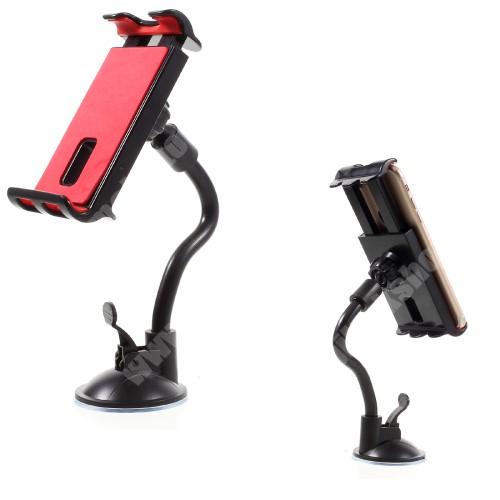 APPLE iPhone X UNIVERZÁLIS gépkocsi / autós tartó - FEKETE - tapadó korongos / szélvédőre helyezhető, 360°-ban forgatható, 115 - 200 mm-ig állítható bölcsővel, flexibilis karral