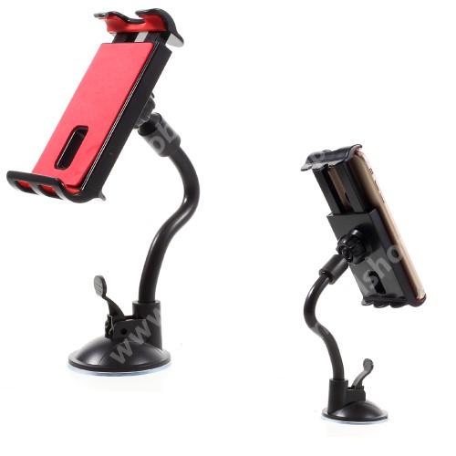 UNIVERZÁLIS gépkocsi / autós tartó - FEKETE - tapadó korongos / szélvédőre helyezhető, 360°-ban forgatható, 115 - 200 mm-ig állítható bölcsővel, flexibilis karral