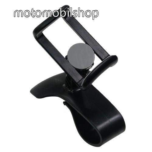 UNIVERZÁLIS gépkocsi / autós tartó - műszerfalra szerelhető, 360°-ban forgatható, 58-85 mm-ig állítható bölcsővel - FEKETE