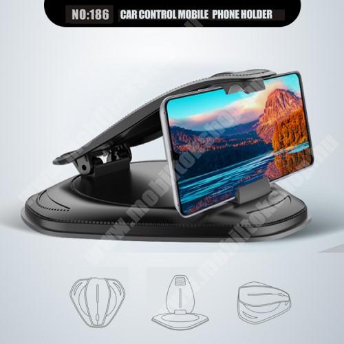 """SAMSUNG GT-G3500 Galaxy Trend 3 UNIVERZÁLIS gépkocsi / autós tartó - műszerfalra rögzíthető, max.  85mm-es befogó csipesszel, max 4-6""""-os készülékekhez - FEKETE"""