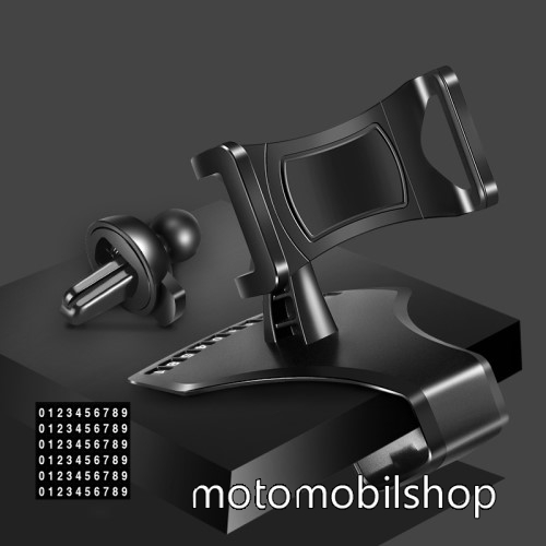 """MOTOROLA MPX100 UNIVERZÁLIS gépkocsi / autós tartó - műszerfalra rögzíthető, 360°-ban forgatható, parkoló számkártya tartó, 4-6""""-os készülékekkel használható - FEKETE"""