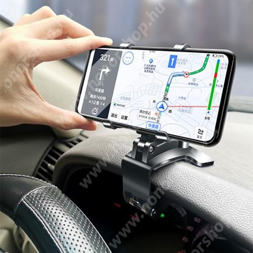 """HUAWEI Honor V40 5G UNIVERZÁLIS gépkocsi / autós tartó - műszerfalra, visszapillantóra, napellenzőre rögzíthető, 4-6.5""""-os készülékekhez ajánlott, 360°-ban elforgatható, 180°-ban dönthető - FEKETE"""
