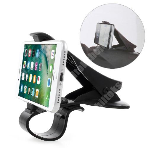 HTC Desire 825 Univerzális gépkocsi / autós tartó - műszerfalra rögzíthető, max.  90mm-es befogó csipesszel - FEKETE