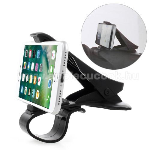 APPLE iPhone XUniverzális gépkocsi / autós tartó - műszerfalra rögzíthető, max.  90mm-es befogó csipesszel - FEKETE