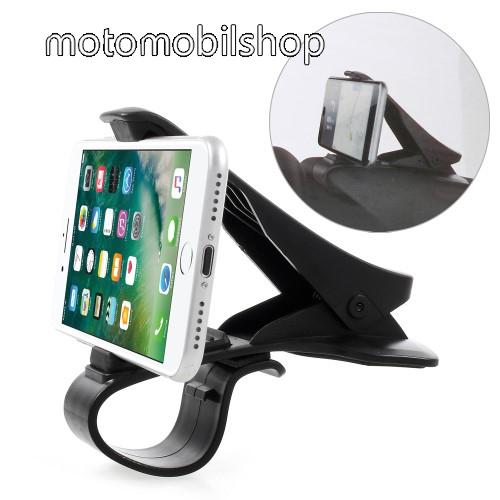 MOTOROLA Moto Z2 Force Univerzális gépkocsi / autós tartó - műszerfalra rögzíthető, max.  90mm-es befogó csipesszel - FEKETE
