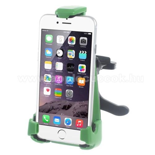 APPLE IPhone 5SUNIVERZÁLIS gépkocsi / autós tartó - szellőző rácsra helyezhető, 360°-ban forgatható - 70-90 / 100-165 mm-ig nyíló bölcsővel - FEKETE / ZÖLD