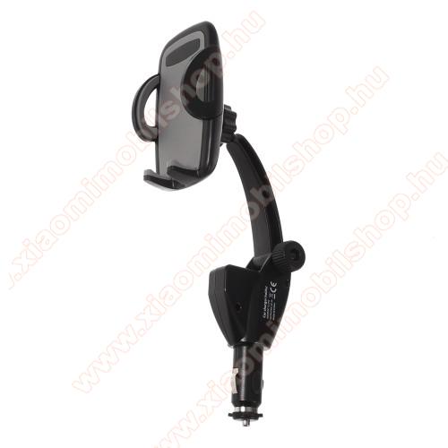 UNIVERZÁLIS gépkocsi / autós tartó - szivargyújtó töltő adapterbe helyezhető + 2db USB aljzattal (5V/3A összesesen) - FEKETE