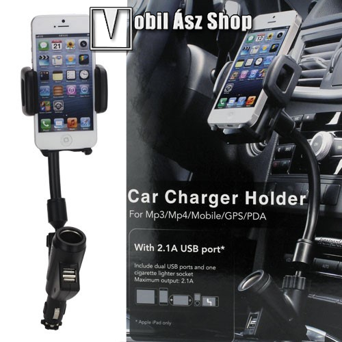 HUAWEI P9UNIVERZÁLIS gépkocsi / autós tartó - szivargyújtő töltő adapterbe helyezhető + szivargyújtó és 2db USB aljzattal (5V / 2100mAh), 35-80 mm-ig állítható bölcsővel