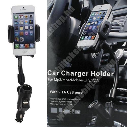 UNIVERZÁLIS gépkocsi / autós tartó - szivargyújtő töltő adapterbe helyezhető + szivargyújtó és 2db USB aljzattal (5V / 2100mAh), 35-80 mm-ig állítható bölcsővel