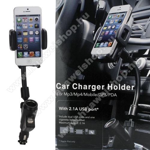 HUAWEI Y MaxUNIVERZÁLIS gépkocsi / autós tartó - szivargyújtő töltő adapterbe helyezhető + szivargyújtó és 2db USB aljzattal (5V / 2100mAh), 35-80 mm-ig állítható bölcsővel