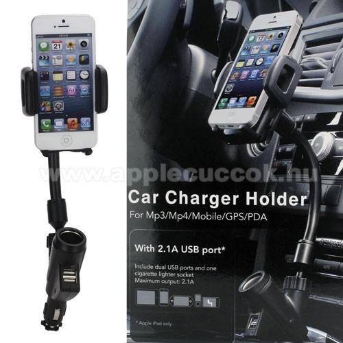APPLE IPhone 5SUNIVERZÁLIS gépkocsi / autós tartó - szivargyújtő töltő adapterbe helyezhető + szivargyújtó és 2db USB aljzattal (5V / 2100mAh), 35-80 mm-ig állítható bölcsővel