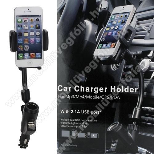HUAWEI Enjoy 9eUNIVERZÁLIS gépkocsi / autós tartó - szivargyújtő töltő adapterbe helyezhető + szivargyújtó és 2db USB aljzattal (5V / 2100mAh), 35-80 mm-ig állítható bölcsővel