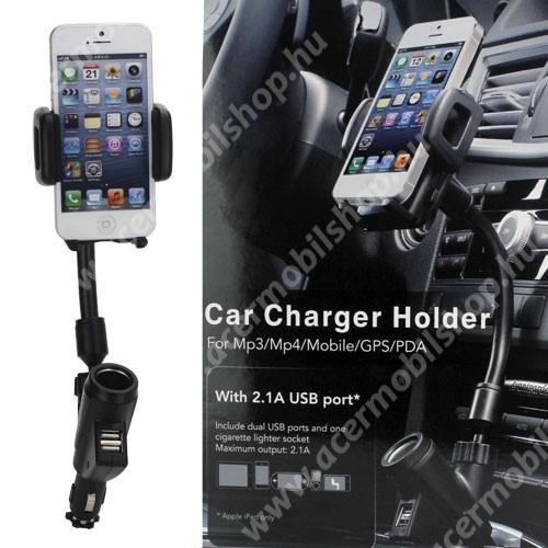 ACER Liquid Z220 UNIVERZÁLIS gépkocsi / autós tartó - szivargyújtő töltő adapterbe helyezhető + szivargyújtó és 2db USB aljzattal (5V / 2100mAh), 35-80 mm-ig állítható bölcsővel