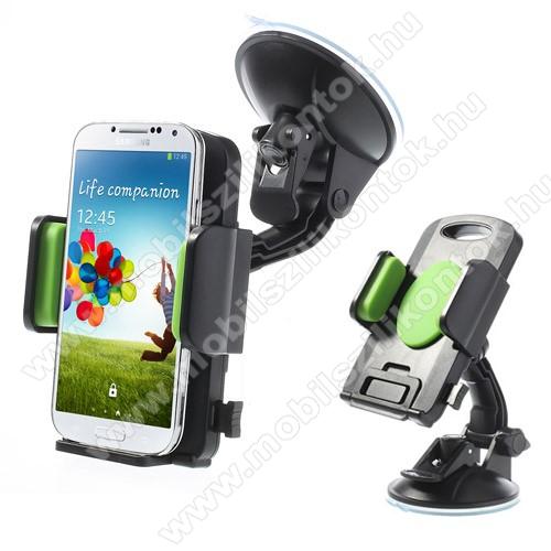 UNIVERZÁLIS gépkocsi / autós tartó - tapadókorongos, szélvédőre helyezhető, 360°-ban forgatható, 58-125 mm-ig állítható bölcsővel - ZÖLD / FEKETE