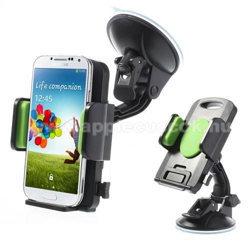 APPLE iPhone 6sUNIVERZÁLIS gépkocsi / autós tartó - tapadókorongos, szélvédőre helyezhető, 360°-ban forgatható, 58-125 mm-ig állítható bölcsővel - ZÖLD / FEKETE