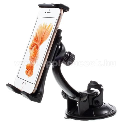 APPLE iPhone SEUNIVERZÁLIS gépkocsi / autós tartó - tapadó korongos / szélvédőre helyezhető, 360°-ban forgatható, 110 - 180 mm-ig állítható bölcsővel