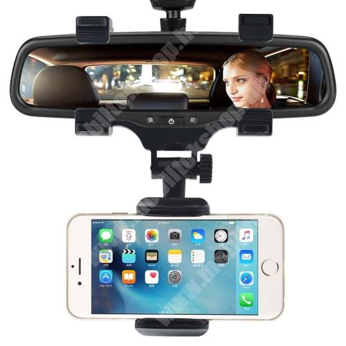 APPLE iPhone 11 Pro UNIVERZÁLIS gépkocsi / autós tartó - visszapillantóra tehető, 360°-ban elforgatható, 50–90 mm-ig állítható bölcső - FEKETE