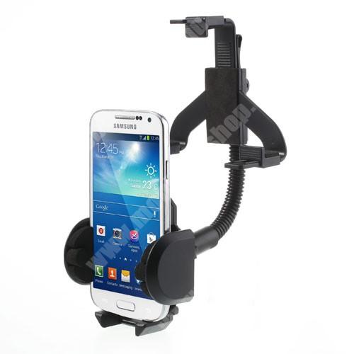 APPLE IPhone 5S UNIVERZÁLIS gépkocsi / autós tartó - visszapillantóra tehető - FEKETE - 40-100 mm-ig állítható bölcsővel