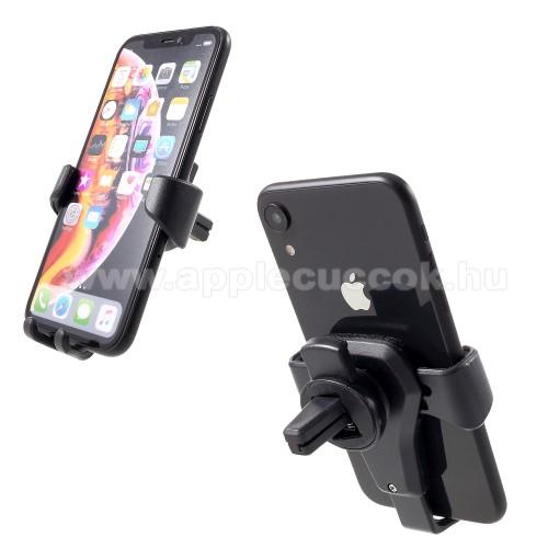 APPLE iPhone XUNIVERZÁLIS Gravity autós / gépkocsi tartó - szellőzőrácsra rögzíthető, bőrrel bevont, 4-6