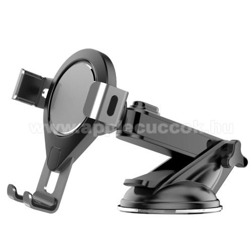 APPLE iPOD photo (40 GB, 60 GB)UNIVERZÁLIS Gravity autós / gépkocsi tartó - tapadókorongos, szélvédőre rögzíthető, 92 x 96 x 155 mm, 62-86mm-ig nyíló bölcső - FEKETE / SZÜRKE