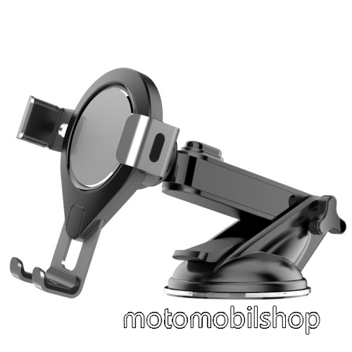 UNIVERZÁLIS Gravity autós / gépkocsi tartó - tapadókorongos, szélvédőre rögzíthető, 92 x 96 x 155 mm, 62-86mm-ig nyíló bölcső - FEKETE / SZÜRKE