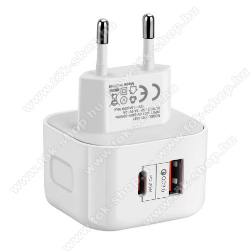 UNIVERZÁLIS hálózati töltő USB / Type C aljzattal - QC3.0/PD3.0, 20W, gyorstöltés támogatás,  5V/3A; 9V/2A; 12V/1.5A, kábel nélkül! - FEHÉR