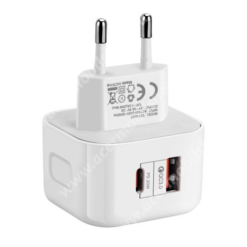 ACER Iconia Tab 8 A1-840FHD UNIVERZÁLIS hálózati töltő USB / Type C aljzattal - QC3.0/PD3.0, 20W, gyorstöltés támogatás,  5V/3A; 9V/2A; 12V/1.5A, kábel nélkül! - FEHÉR