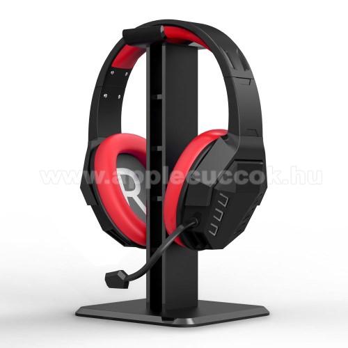UNIVERZÁLIS Headstand fejhallgató állvány / asztali tartó - 24,5 cm magas, ABS műanyag, 245 x 100 x 100 cm  mm - FEKETE