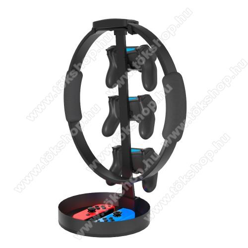 UNIVERZÁLIS Headstand fejhallgató / Joystick állvány / asztali tartó - alumínium, PS5, PS4, PS3, Xbox Series X, Xbox One, Nintendo Switch, csúszásgátló, rekesz - FEKETE