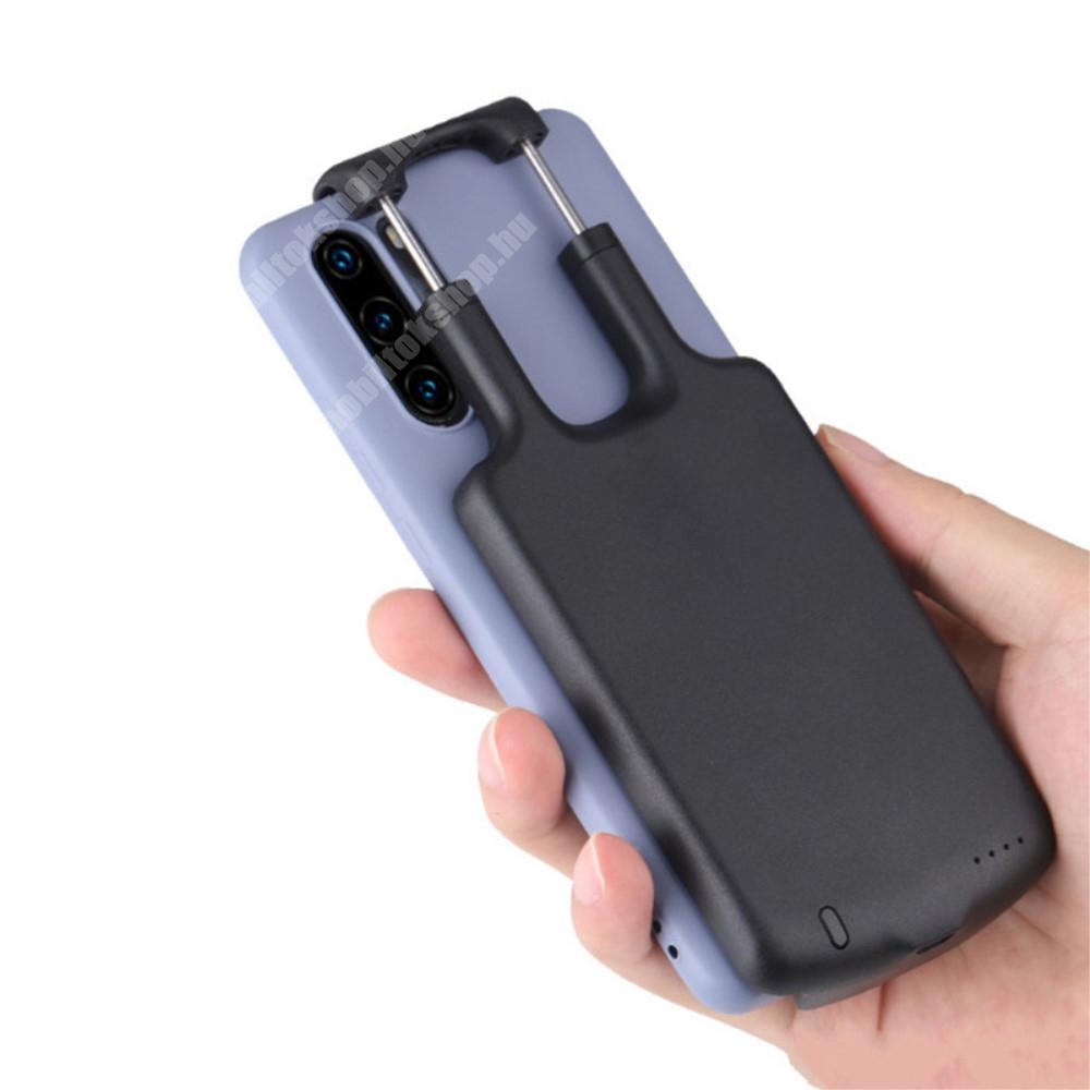 """UNIVERZÁLIS hordozható töltő, Power Bank - 1 x Type-C aljzat, 5000mAh, 5,5–6,5""""-os készülékekhez - FEKETE - 130 x 70 x 23mm"""