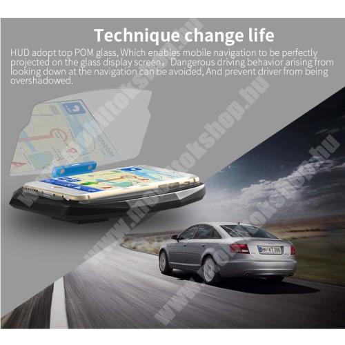 """ALCATEL A30 UNIVERZÁLIS HUD DISPLAY / telefon tartó - tükrőződik a telefon kijelzője, műszerfalra ragasztható, 198°-os szög, csúszásgátló, maximum 6,5""""-os kijelzővel rendelkező okostelefonokhoz ajánlott - FEKETE"""