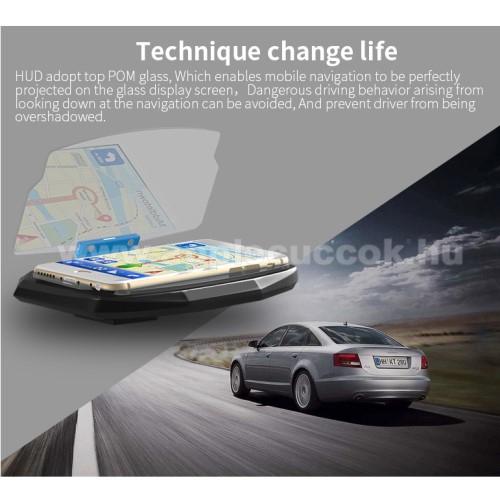UNIVERZÁLIS HUD DISPLAY / telefon tartó - tükrőződik a telefon kijelzője, műszerfalra ragasztható, 198°-os szög, csúszásgátló, maximum 6,5