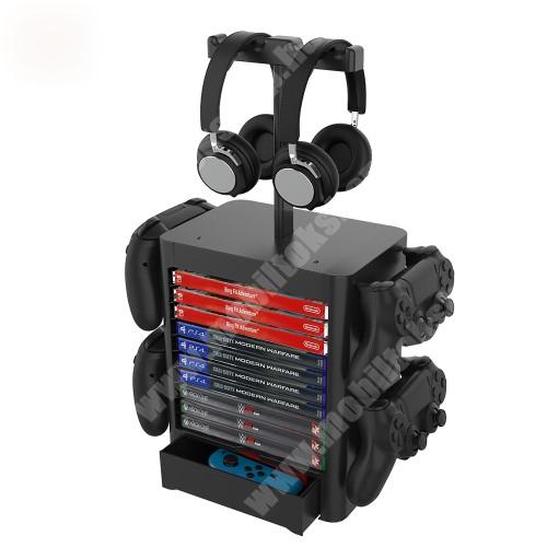 ALCATEL A30 UNIVERZÁLIS Játékkonzol CD tároló / Headstand fejhallgató / Joystick állvány / asztali tartó - PS5, PS4, Xbox Series X, Xbox One, Nintendo Switch, csúszásgátló, kihúzható rekesz - FEKETE