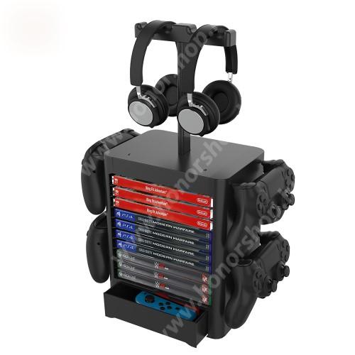 HUAWEI Honor 3 UNIVERZÁLIS Játékkonzol CD tároló / Headstand fejhallgató / Joystick állvány / asztali tartó - PS5, PS4, Xbox Series X, Xbox One, Nintendo Switch, csúszásgátló, kihúzható rekesz - FEKETE