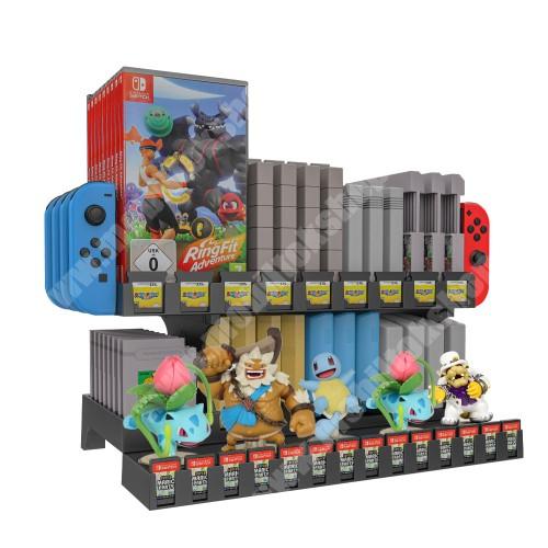 PRESTIGIO MultiPad 8.0 PRO DUO UNIVERZÁLIS Játékkonzol CD tároló / Joy-Con tároló / asztali tartó - Nintendo Switch, csúszásgátló, amiibo tároló, gameboy, SNES, N64, NES, NDS/3DS, FC, SFC, HVC-MR, NSW tároló - FEKETE