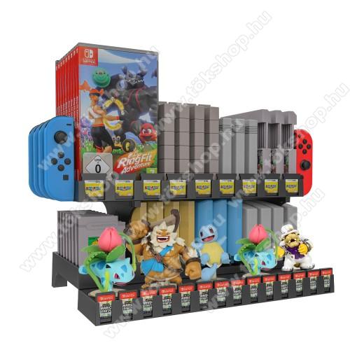UNIVERZÁLIS Játékkonzol CD tároló / Joy-Con tároló / asztali tartó - Nintendo Switch, csúszásgátló, amiibo tároló, gameboy, SNES, N64, NES, NDS/3DS, FC, SFC, HVC-MR, NSW tároló - FEKETE