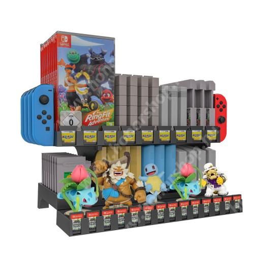 HUAWEI Honor 3 UNIVERZÁLIS Játékkonzol CD tároló / Joy-Con tároló / asztali tartó - Nintendo Switch, csúszásgátló, amiibo tároló, gameboy, SNES, N64, NES, NDS/3DS, FC, SFC, HVC-MR, NSW tároló - FEKETE