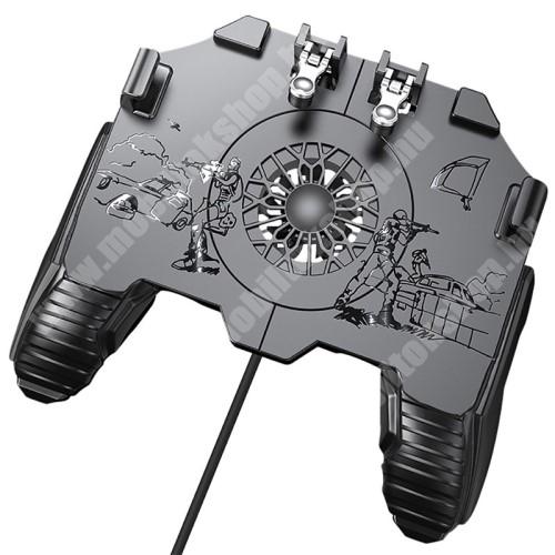 """UNIVERZÁLIS Kontroller / Joystick - ravasz FPS játékokhoz, gamepad, beépített hűtőventilátor CSAK KÁBELLEL MÜKŐDIK!, 6.5""""-os méretig kompatibilis okostelefonokkal - FEKETE"""