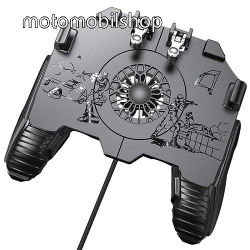 """MOTOROLA MPX100 UNIVERZÁLIS Kontroller / Joystick - ravasz FPS játékokhoz, gamepad, beépített hűtőventilátor CSAK KÁBELLEL MÜKŐDIK!, 6.5""""-os méretig kompatibilis okostelefonokkal - FEKETE"""