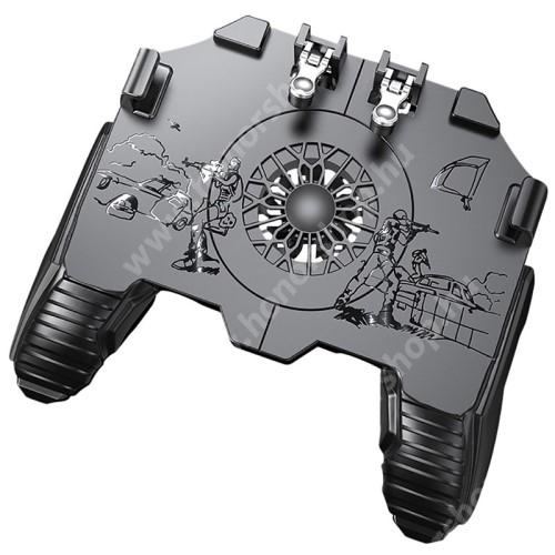 """HUAWEI Honor V40 5G UNIVERZÁLIS Kontroller / Joystick - ravasz FPS játékokhoz, gamepad, beépített hűtőventilátor, beépített 500mAh akkumulátor, 6.5""""-os méretig kompatibilis okostelefonokkal - FEKETE"""