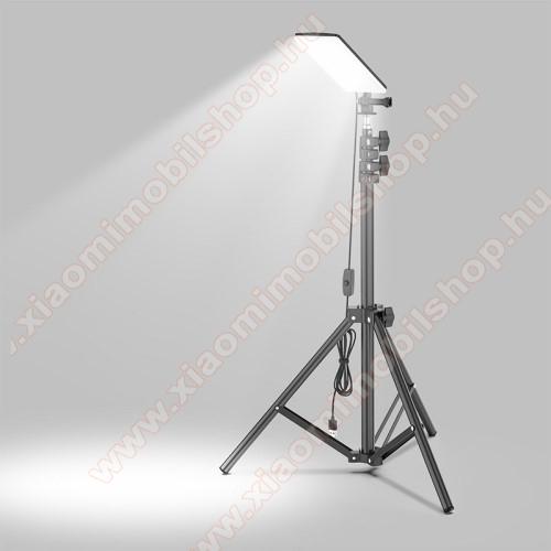 UNIVERZÁLIS kültéri / beltéri kempinglámpa / tripod állvány - 84db-os SMD LED, 680LM (max), 6500-7000K fehér fény, alumínium, összecsukható, IP65-ös vízállóság, állítható magasság max. 180cm-ig - FEKETE