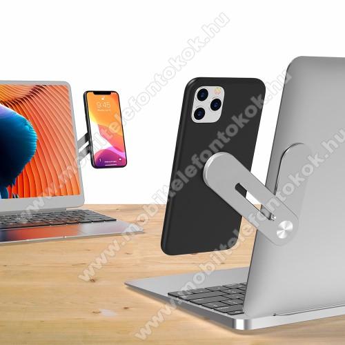 UNIVERZÁLIS laptopra ragasztható telefon tartó, állvány - alumínium, állítható, mágneses - EZÜST