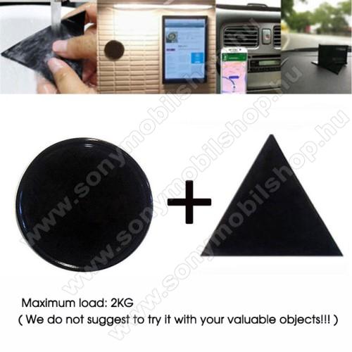 UNIVERZÁLIS Magical Gel csúszásgátló pad gépkocsi műszerfalra / asztalra  - 2db, kör és háromszög alakú 78mm, mosható, maximum 2kg-ig terhelhető! - NANO-PAD tulajdonság - FEKETE