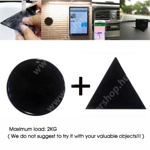HUAWEI Honor V40 5G UNIVERZÁLIS Magical Gel csúszásgátló pad gépkocsi műszerfalra / asztalra  - 2db, kör és háromszög alakú 78mm, mosható, maximum 2kg-ig terhelhető! - NANO-PAD tulajdonság - FEKETE
