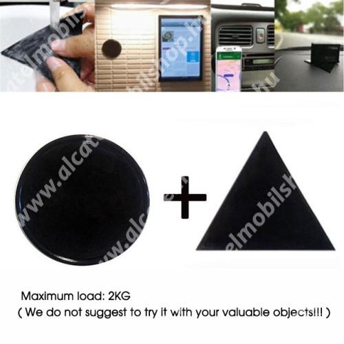 ALCATEL Idol 3C UNIVERZÁLIS Magical Gel csúszásgátló pad gépkocsi műszerfalra / asztalra  - 2db, kör és háromszög alakú 78mm, mosható, maximum 2kg-ig terhelhető! - NANO-PAD tulajdonság - FEKETE